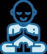 Blue meditation yoga icon