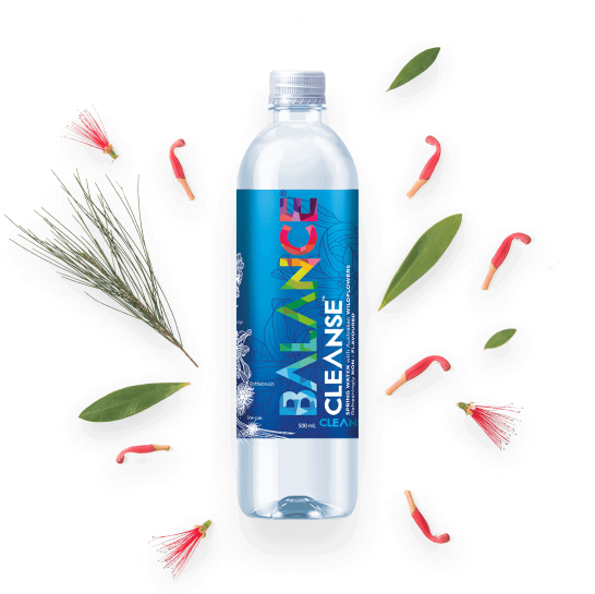 Bottle of water with wildflowers from Balance water in Australia